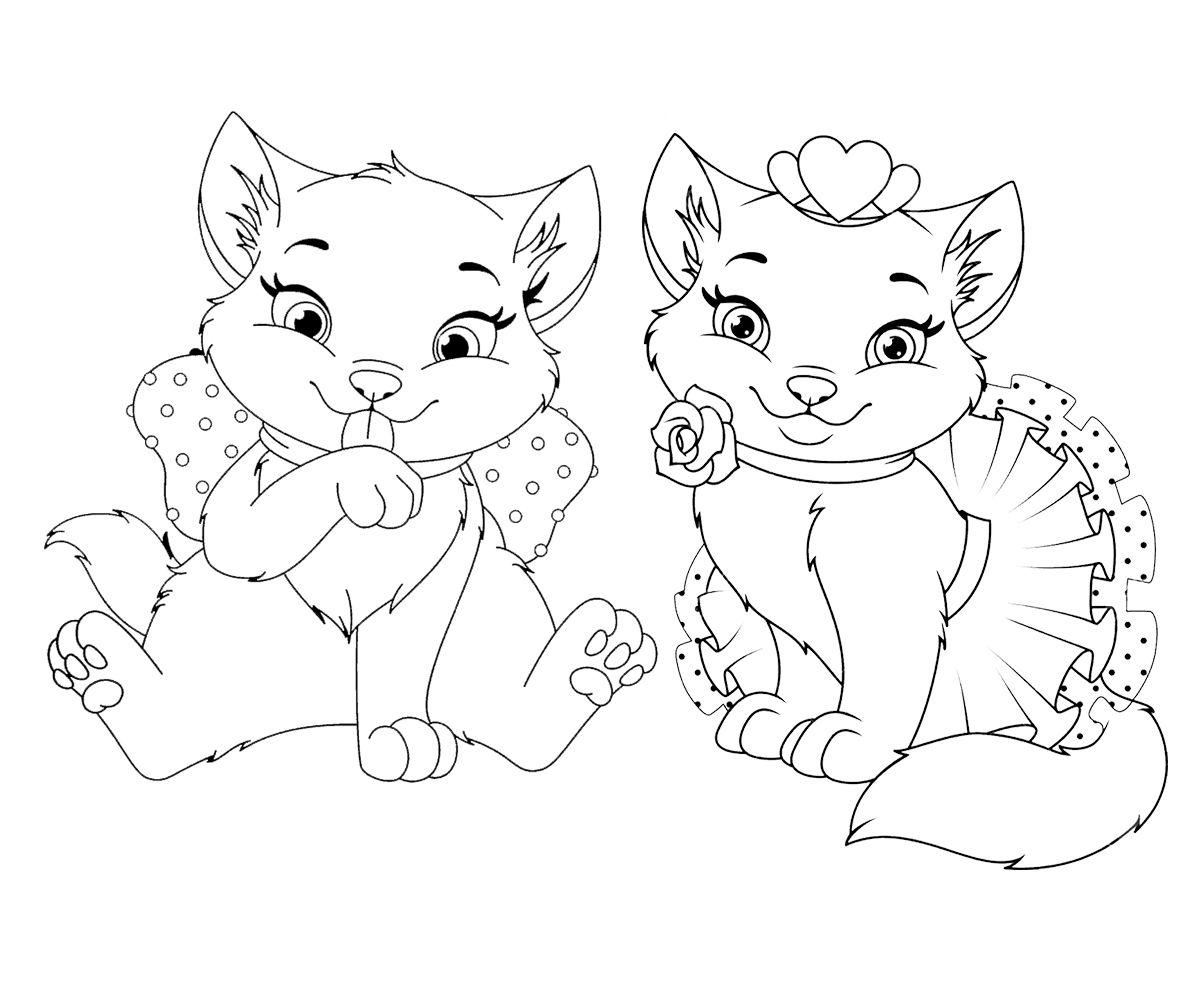 Раскраска для детей красивые котята. Милые котята. #котики ...