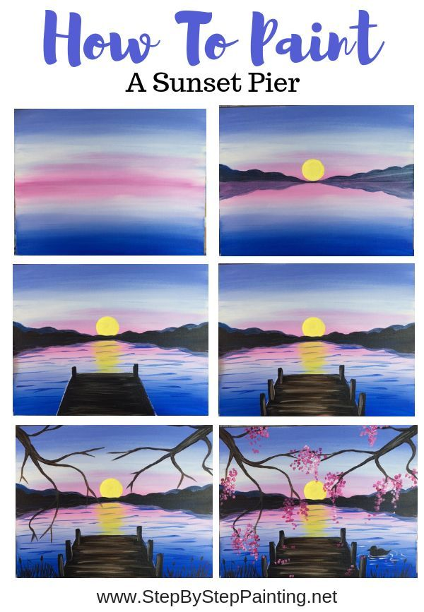 How To Paint Sunset Over A Pier - #Paint #Pier #steps #Sunset #learning