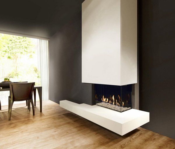 Modern Gas Fireplace Open Floor Plan Living Dining Room