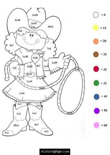 color-by-number-math-worksheet-cowgirl-coloring-page-for-kids ...