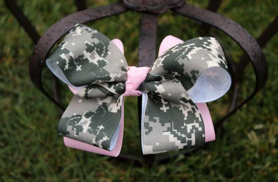 camo bow boutique army hairbow
