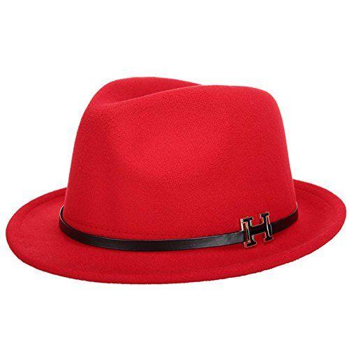 e5df8bb751b LM Amorulove Women Wool Vintage Wide Brim Hard Felt Fedora Panama Hat