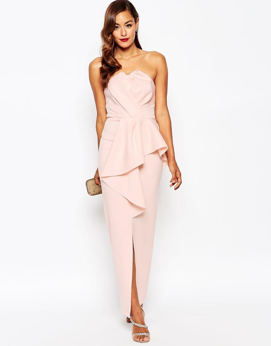 Red Carpet Scuba Bandeau Heavy Fold Peplum Maxi Dress