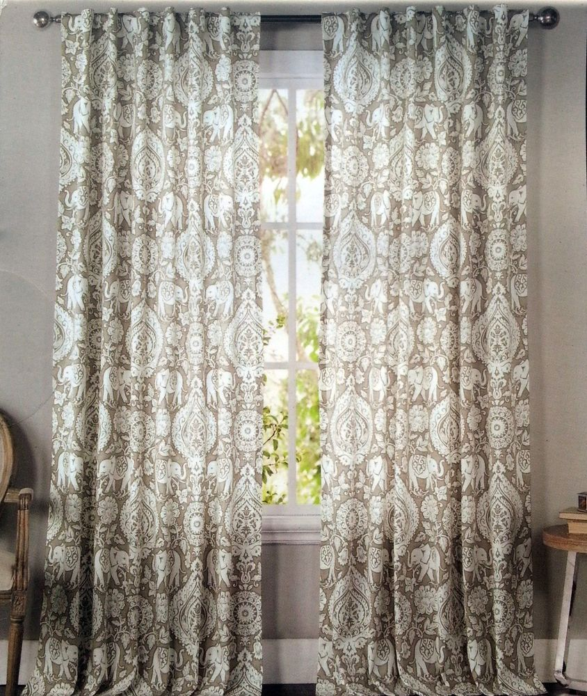 ENVOGUE Tan Elephant Medallions Window Curtain Panels Set Of 2 Drapes Pair 96 Window
