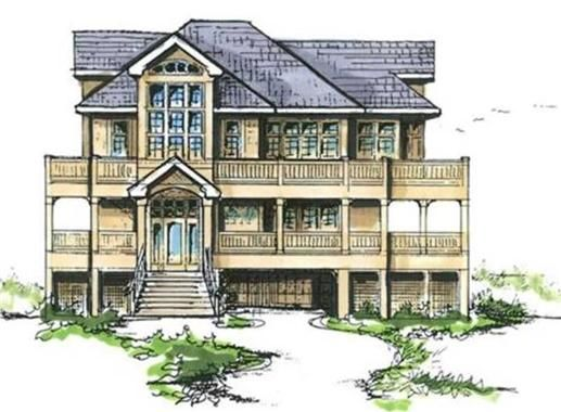 This coastal house plan features: 4 bedrooms, 2 masters, 4.5 baths, den, ground floor billiard room, large open living area with 2 fireplaces, large decks, and covered