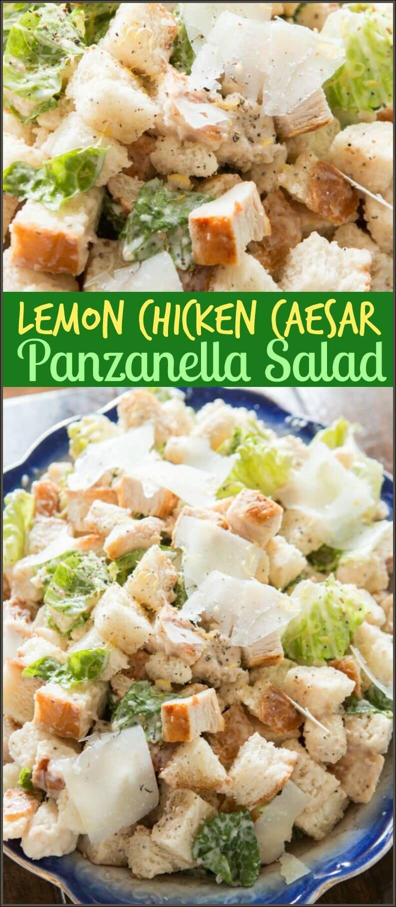 Lemon Chicken Caesar Panzanella Salad via @ohsweetbasil