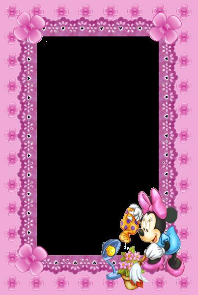 Cute Kids Pink Mini Mouse Transparent Frame. | Frame ~ Vertical ...