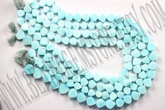 Peruvian Blue Opal Color Enhanced Smooth Heart by beadsogemstone, $8.30