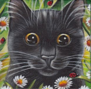 Black Kitten & Ladybug - Mini Spring Painting