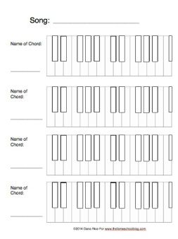 Blank Keyboards Free printables for 3 and 4 note chords