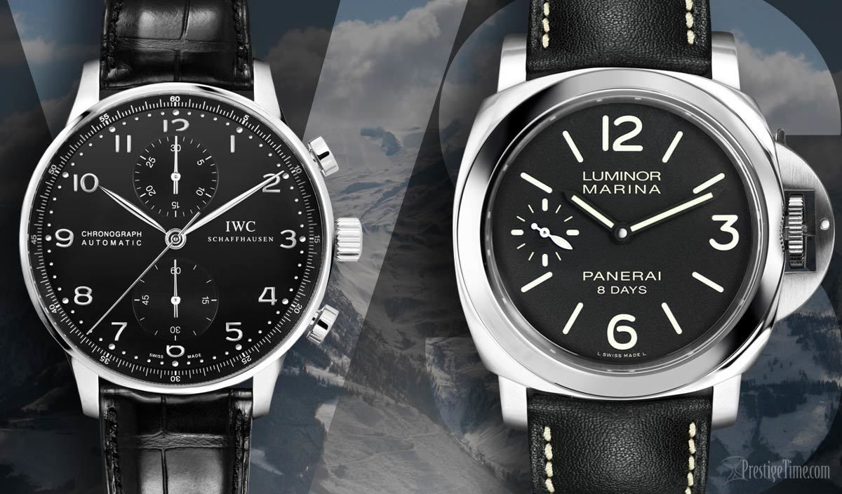 acd905cdec9 Lets do a watch comparison and benchmark the IWC Portuguese Automatic  Chronograph VS a Panerai Luminor Marine 8 Days. You be the judge. Which is  better