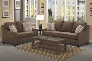 Poundex 2 PC Contemporary Chocolate Chenille Loveseat and Sofa Set  -Contemporary Living