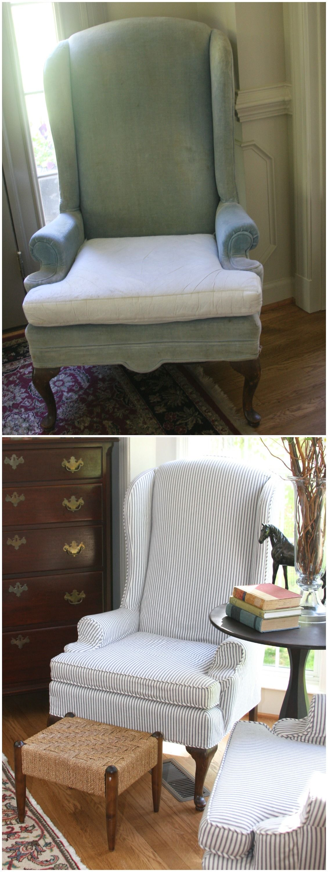 blue wingback chair covers folding hs code updated vintage ethan allen chairs with lovely