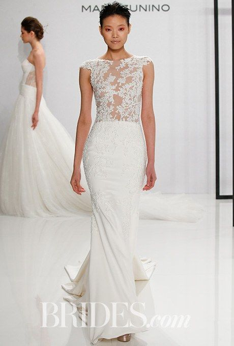 Style 202, stretch crepe wedding dress with lace illusion bodice ...
