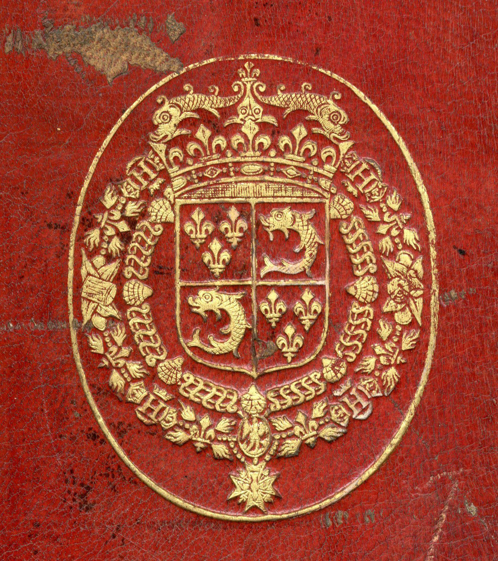 Reliure Aux Armes De Louis Grand Dauphin De France 1661 1711 Ecartele Aux 1 Et 4 De France Aux 2 Et 3 D Azur Au Dauph Grand Dauphin Reliure Saint Esprit