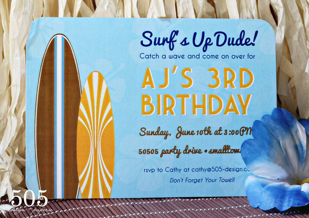 Printable Surfing Invitation by 505 Design Paperie - Surfs Up ...