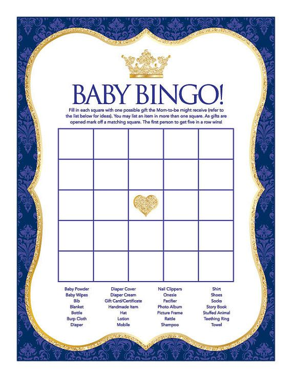 Instant Download Royal Blue Prince Baby Shower Games Pack Printable