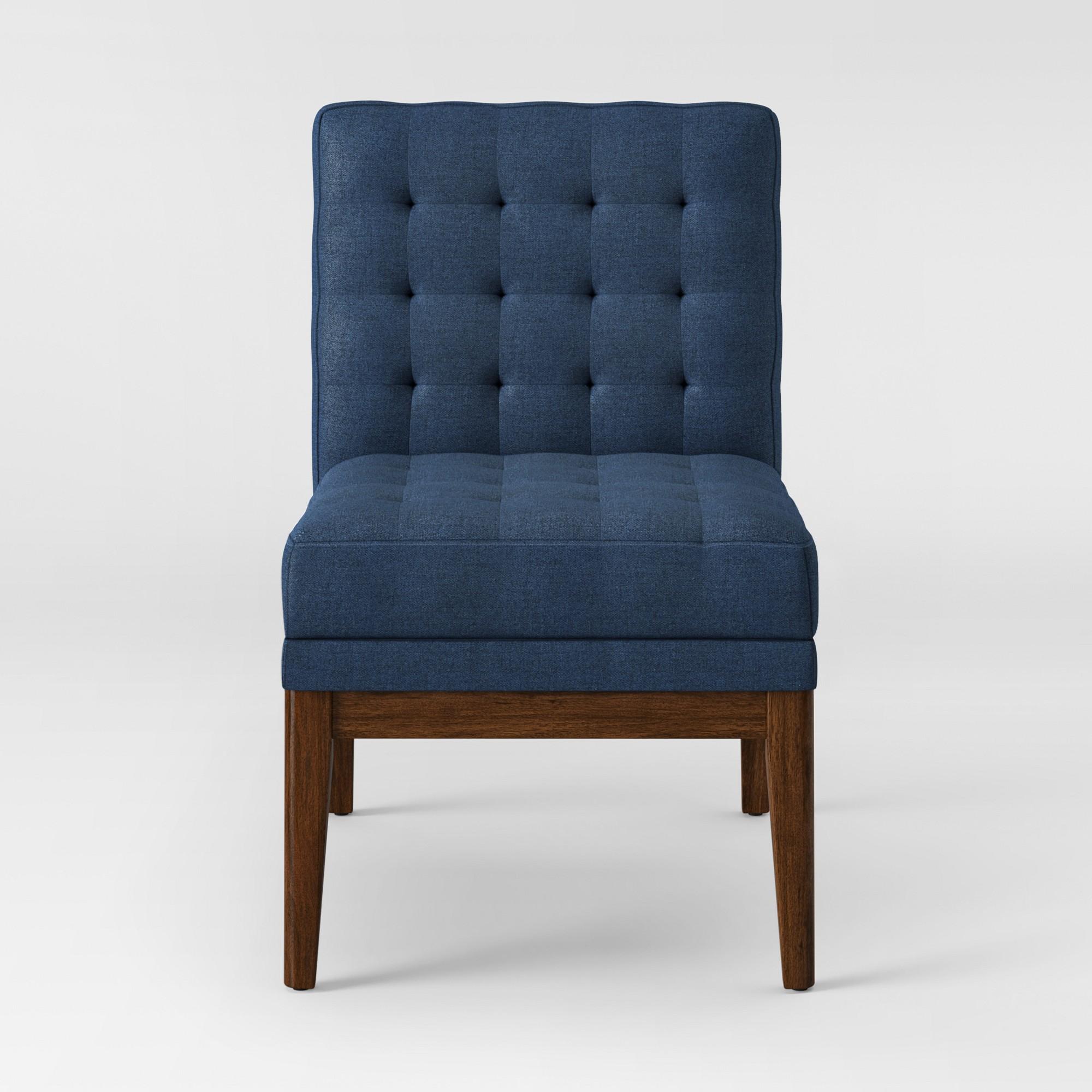 Prime Newark Tufted Slipper Chair With Wood Base Ships Flat Navy Evergreenethics Interior Chair Design Evergreenethicsorg