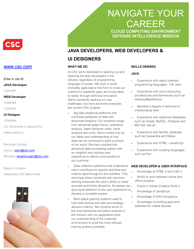 junior and entry level java developer opportunities with csc