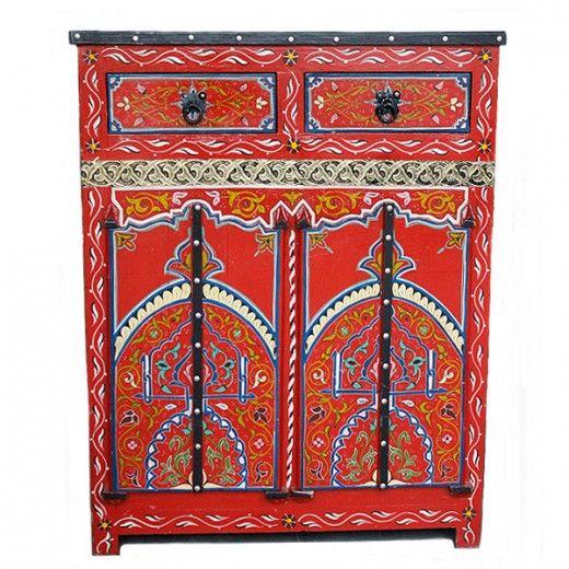 Cabinet marroqu en rojo decohouse en 2019 pinterest - Muebles marroquies en madrid ...