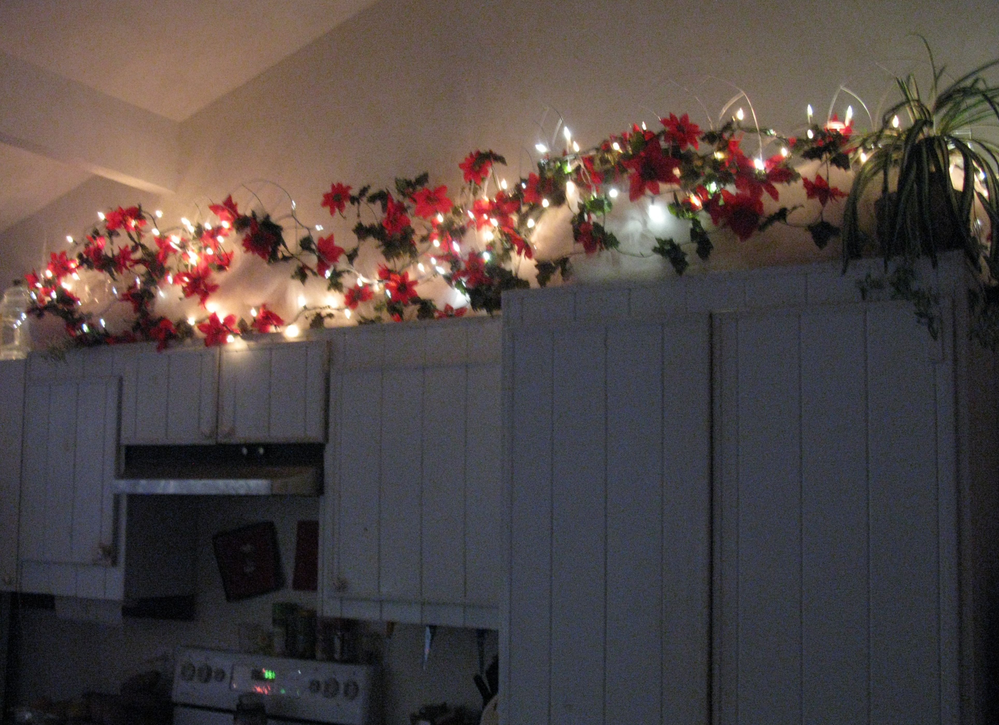Above the cabinets at Christmas | Christmas lights inside ...