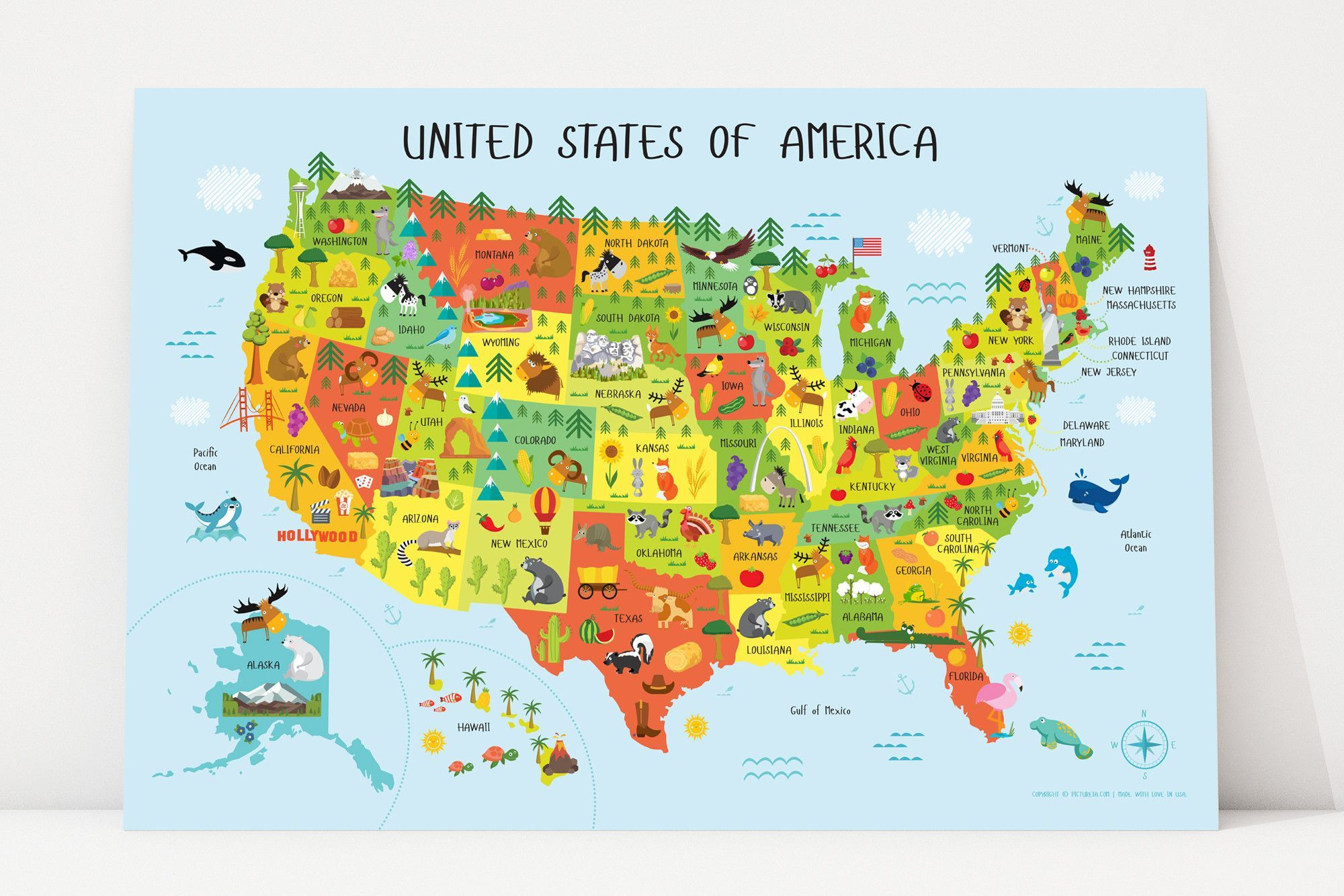 USA Map for Kids Poster - Playroom Decor, Nursery Decor, Classroom ...
