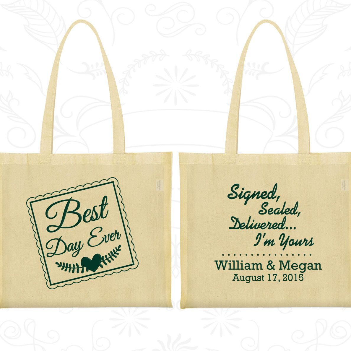 Best Day Ever Wedding Bags, Signed, Sealed, Delivered, I am Yours, Cheap Cotton Canvas Tote, Romantic Wedding, Personalized Bags (591)