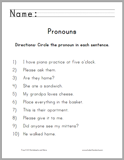 Circle The Pronouns Worksheet For First Grade Free To Print Pdf