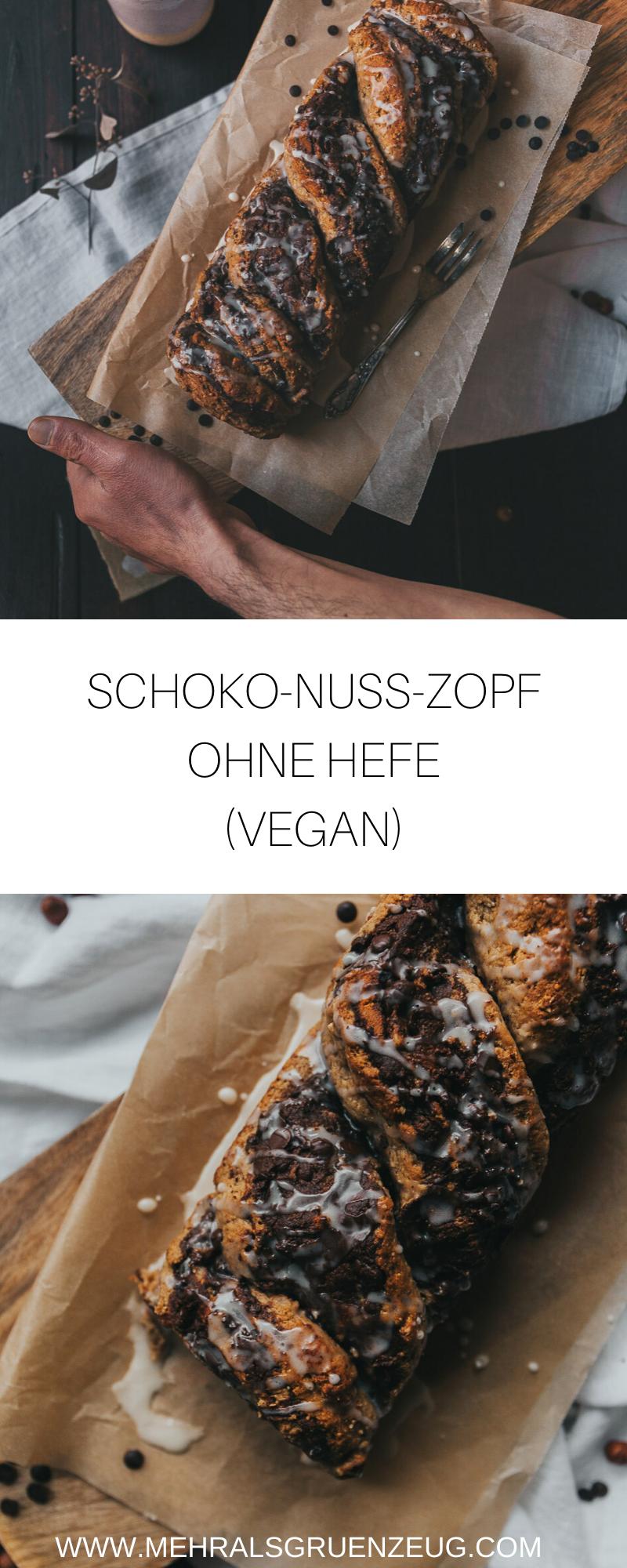 Veganer Schoko-Nuss-Zopf ohne Hefe