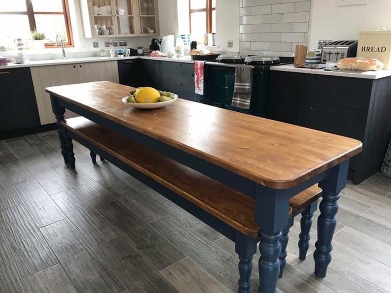 Farmhouse dining table 7ft x 2ft New Handmade Pine Narrow