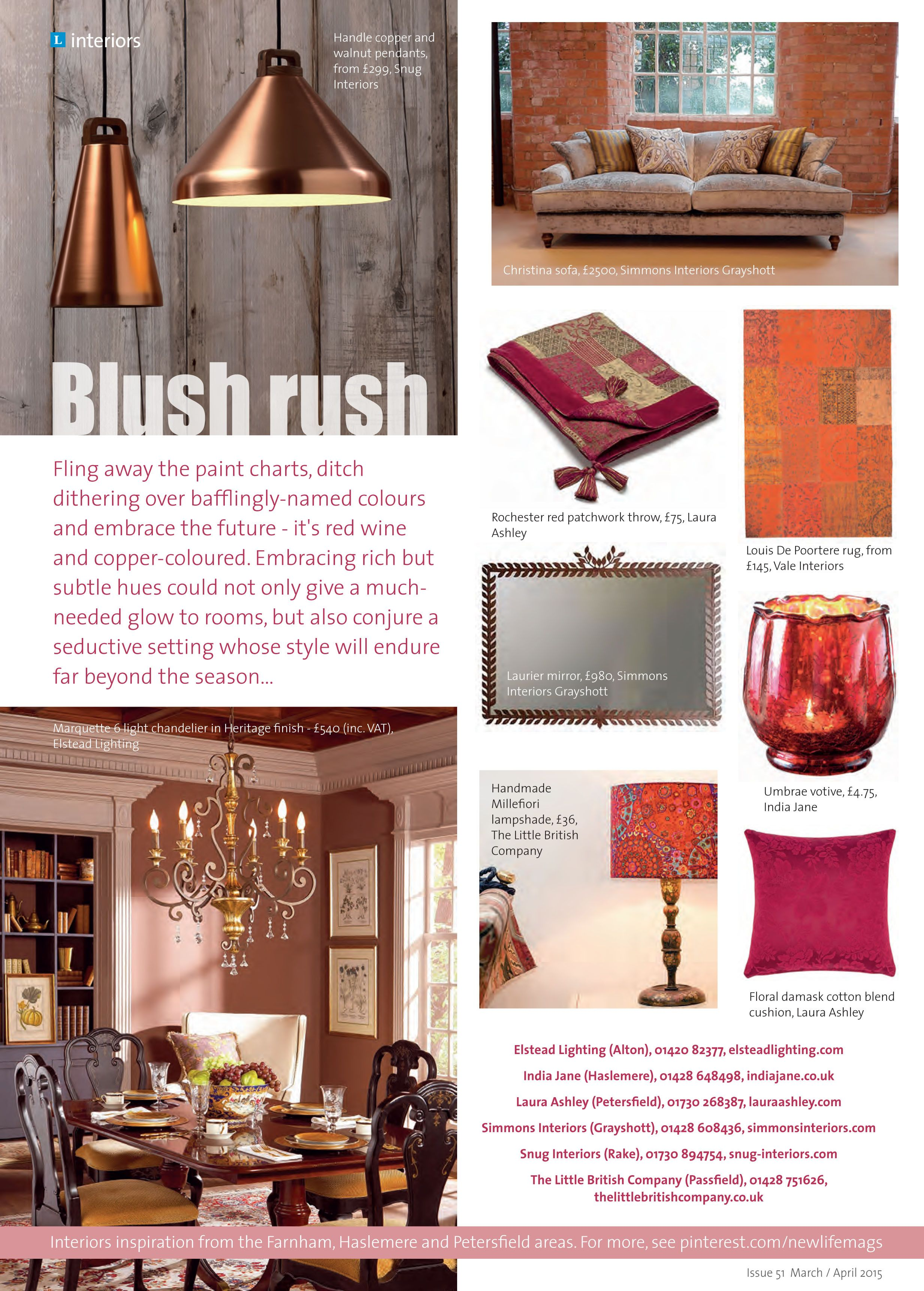 ~ Blush rush ~ Embrace the future - it's red wine and copper-coloured #locallife #Petersfield #Hampshire #interiors #inspiration #spring