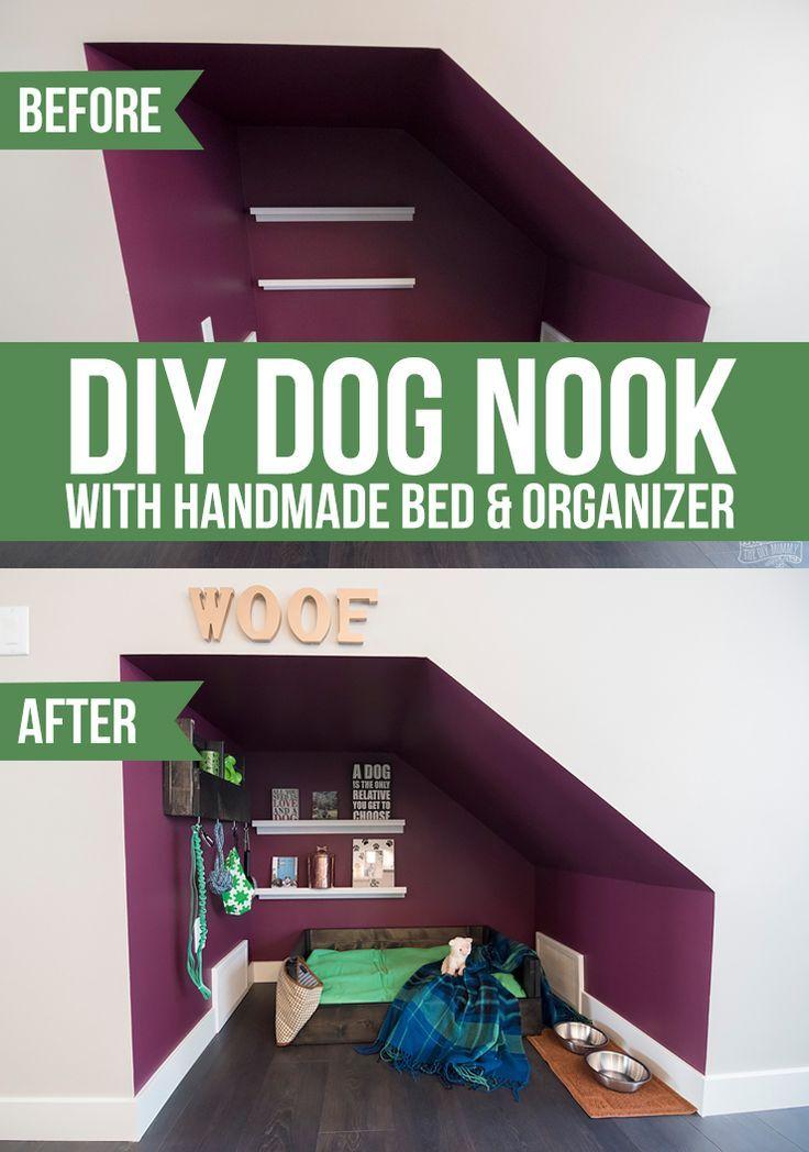 Diy Under Stairs Dog Nook With Handmade Dog Bed Organizer With