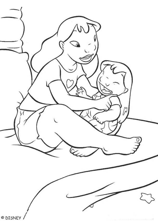 Lilo With Her Sister Coloring Page Stitch Coloring Pages Disney