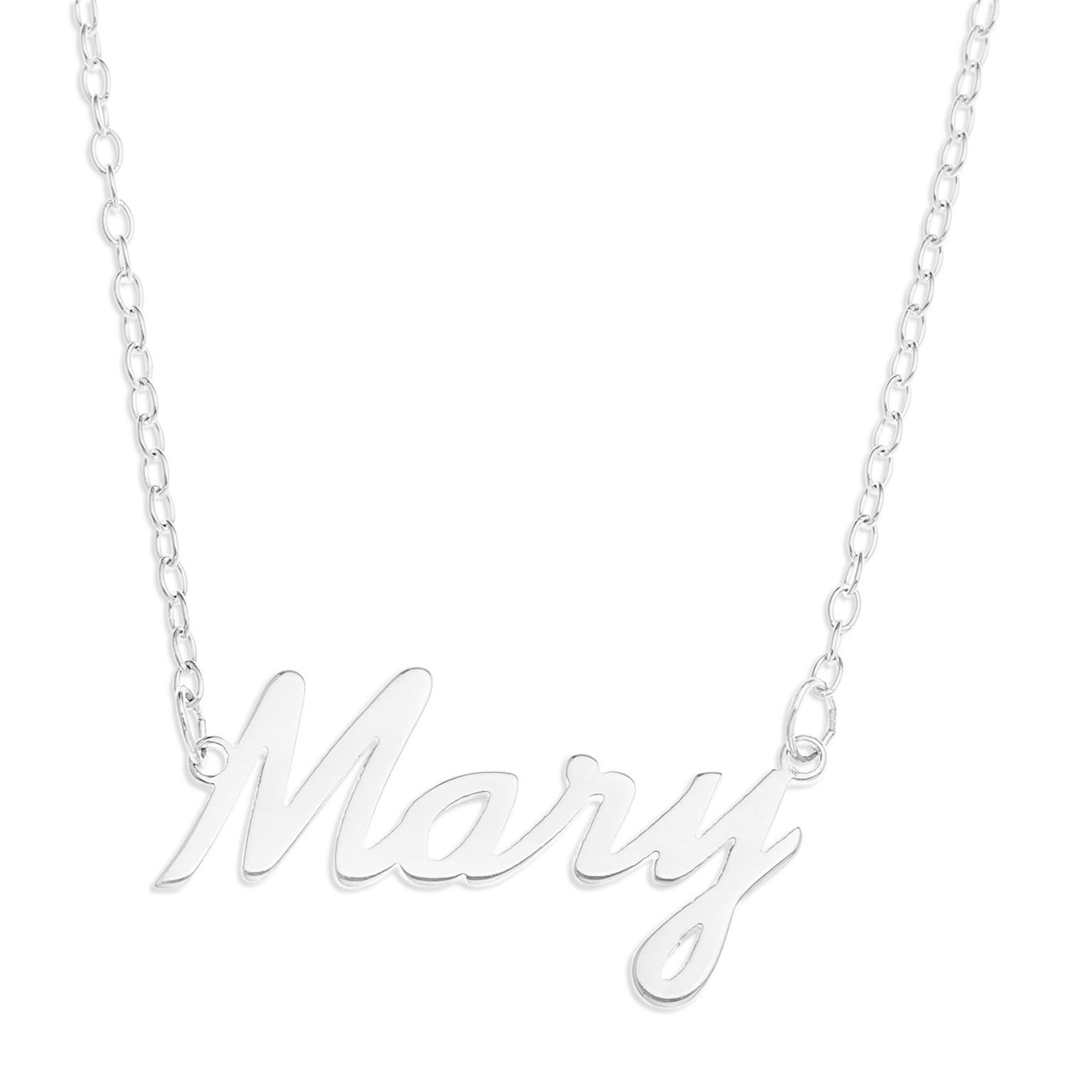 Sterling silver umaryu name pendant on inch trace chain silver