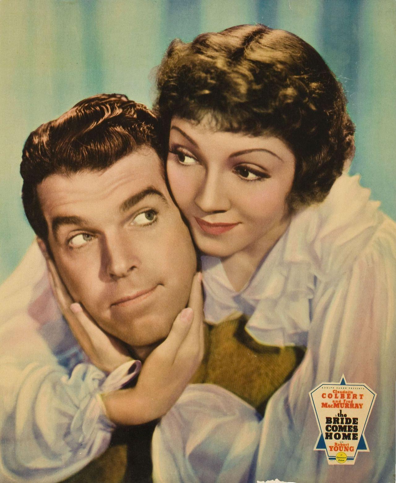 """Fred MacMurray y Claudette Colbert en """"La novia que vuelve"""", 1935"""