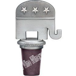 Republican Bottle Stopper by Heritage Pewter. $21.99. RepublicanBottle Stopper. Made with a synthetic cork, it has a chain with a pewter ring which slips over a bottle's neck.