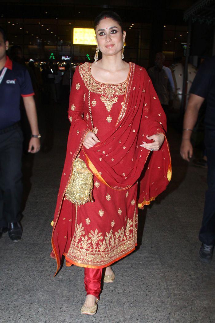 Kareena Kapoor Khan wears a red Raghavendra Rathore kurta set for Armaan  Jain's roka   VOGUE Indi…   Indian designer outfits, Kareena kapoor khan,  Bollywood fashion
