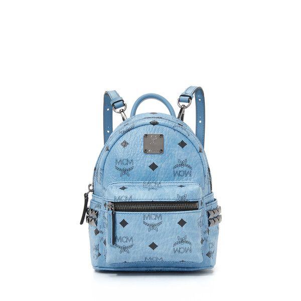 MCM Side Stud Baby Backpack (4.370 NOK) ❤ liked on Polyvore featuring bags, backpacks, denim, rucksack bags, wrap bag, blue backpack, zip top bag and mcm