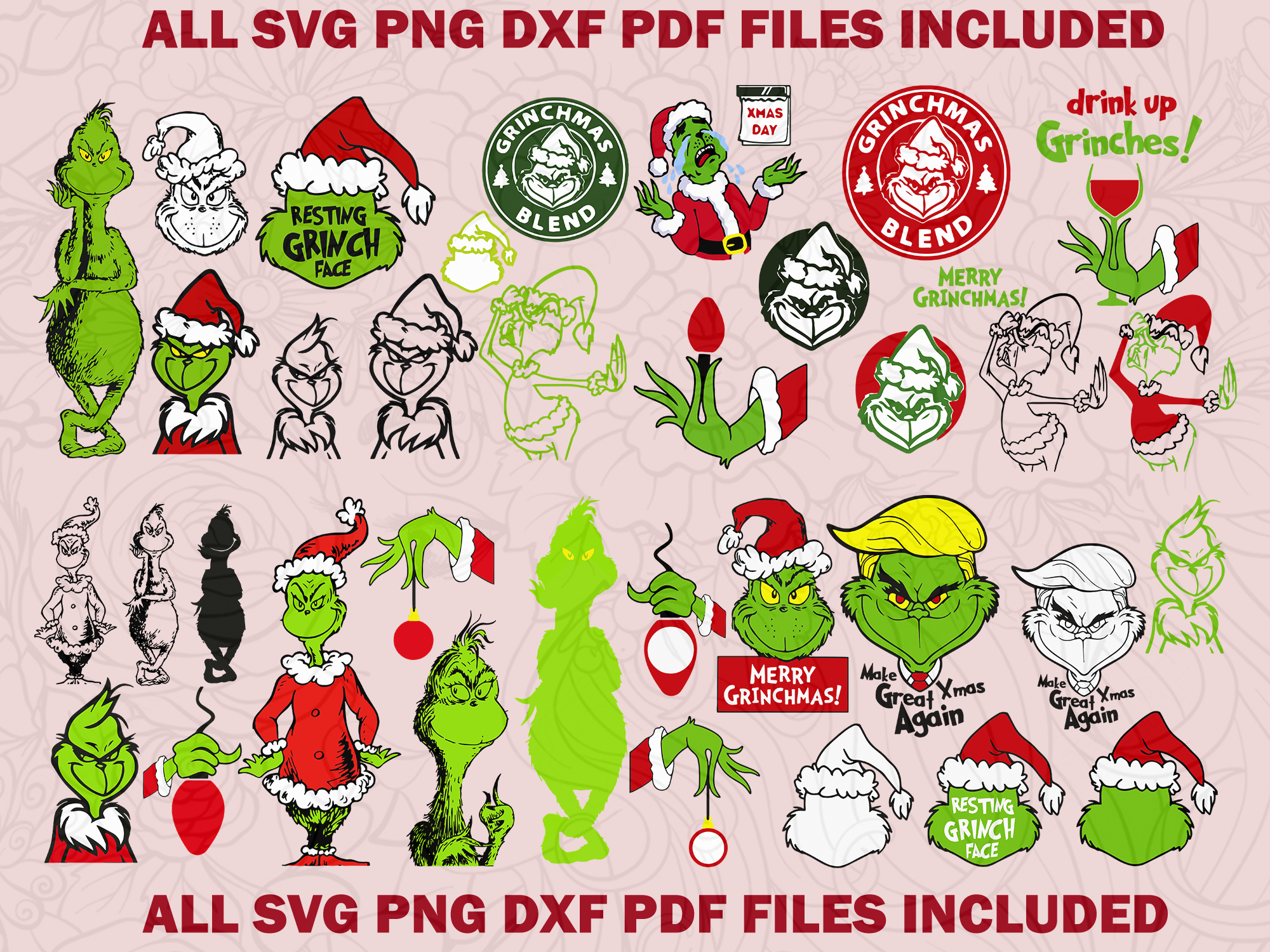 The grinch svg bundle 27, The grinch face, The grinch hand
