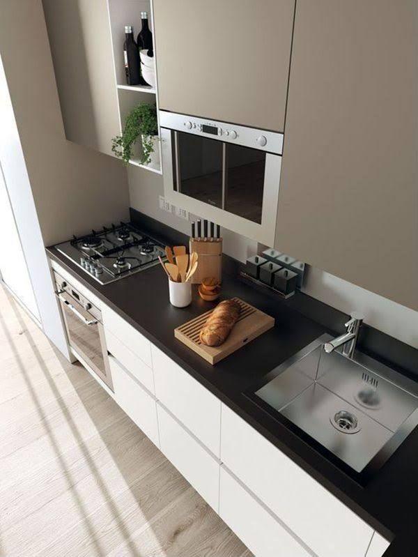 Cocina moderna con encimera negra | Decoracion | Pinterest | Cocina ...