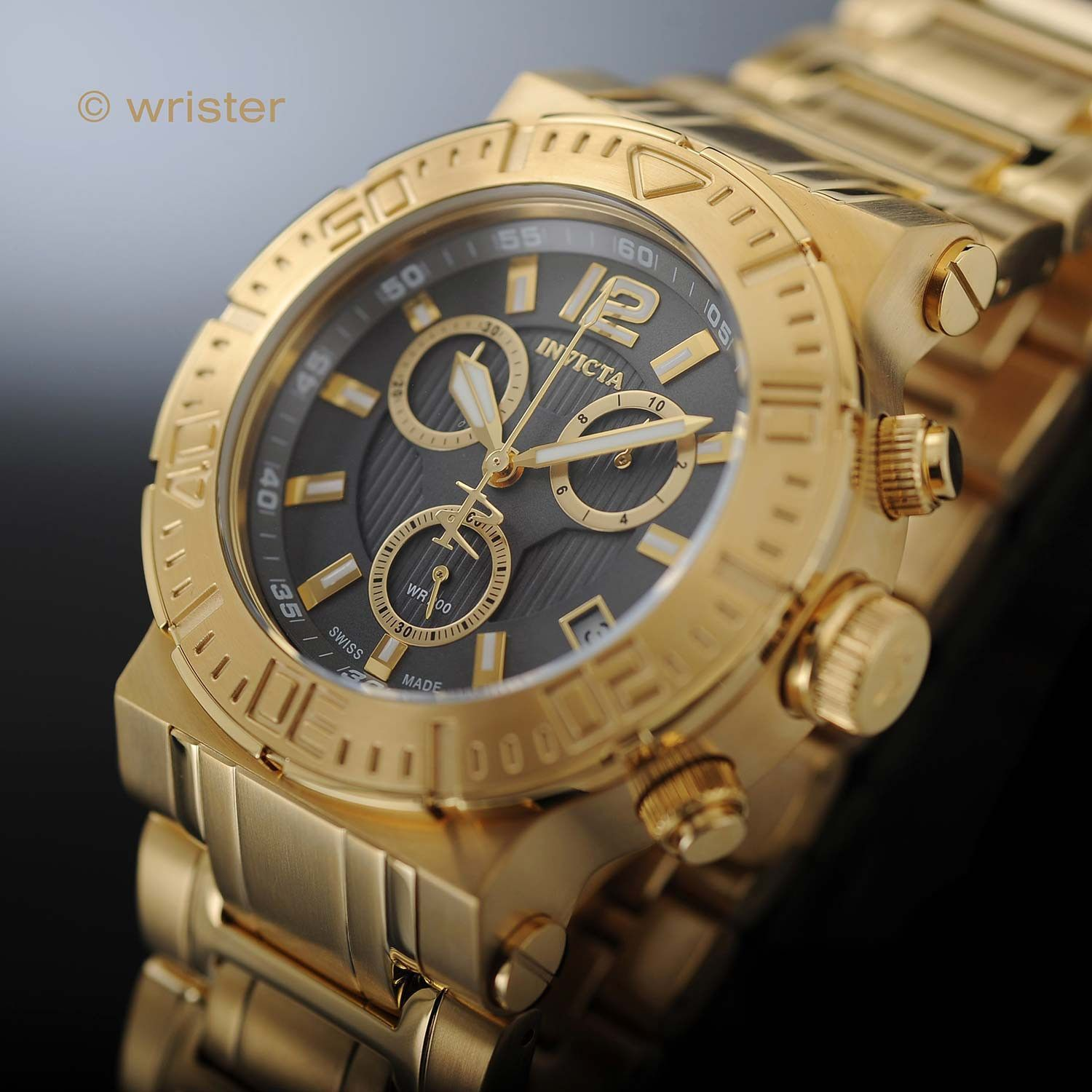 Invicta Reserve 46mm Swiss Made 18k Gold Gray Dial Watch