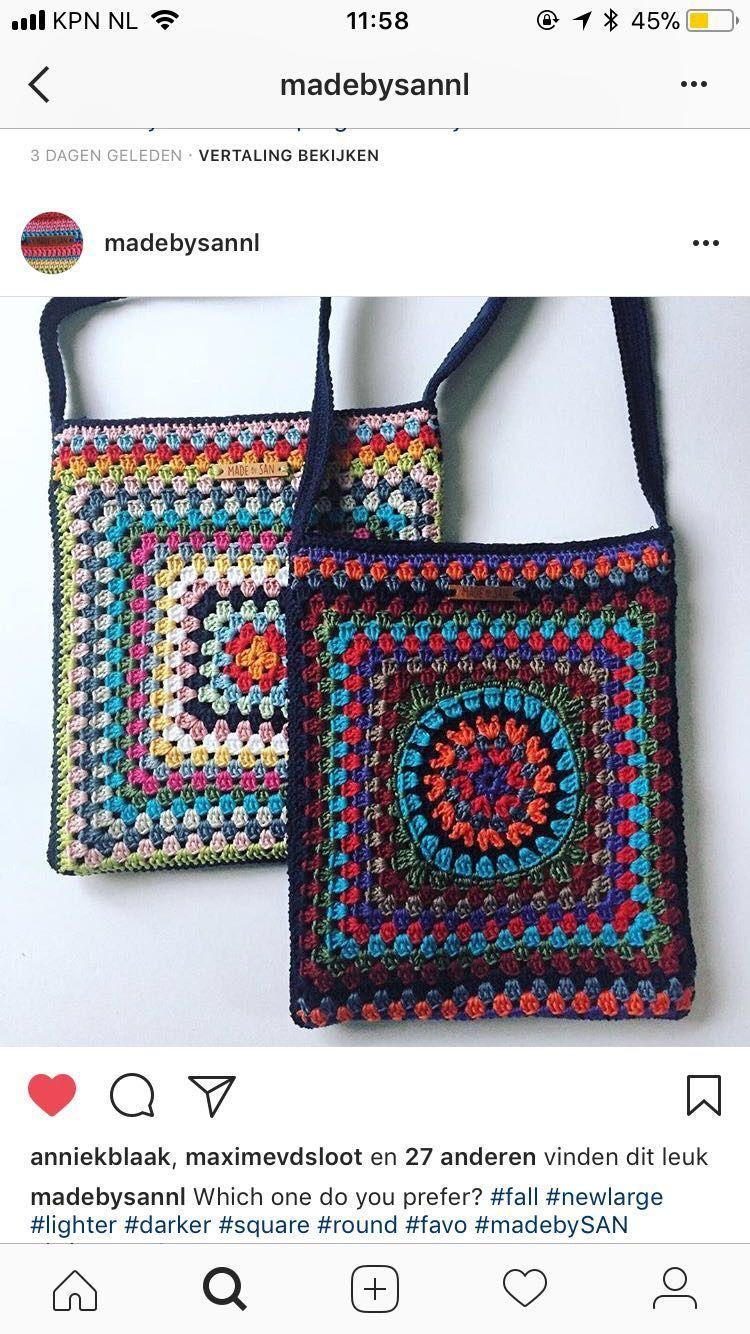 Made by San | gehaakte tas | crochet bag – purses and handbags