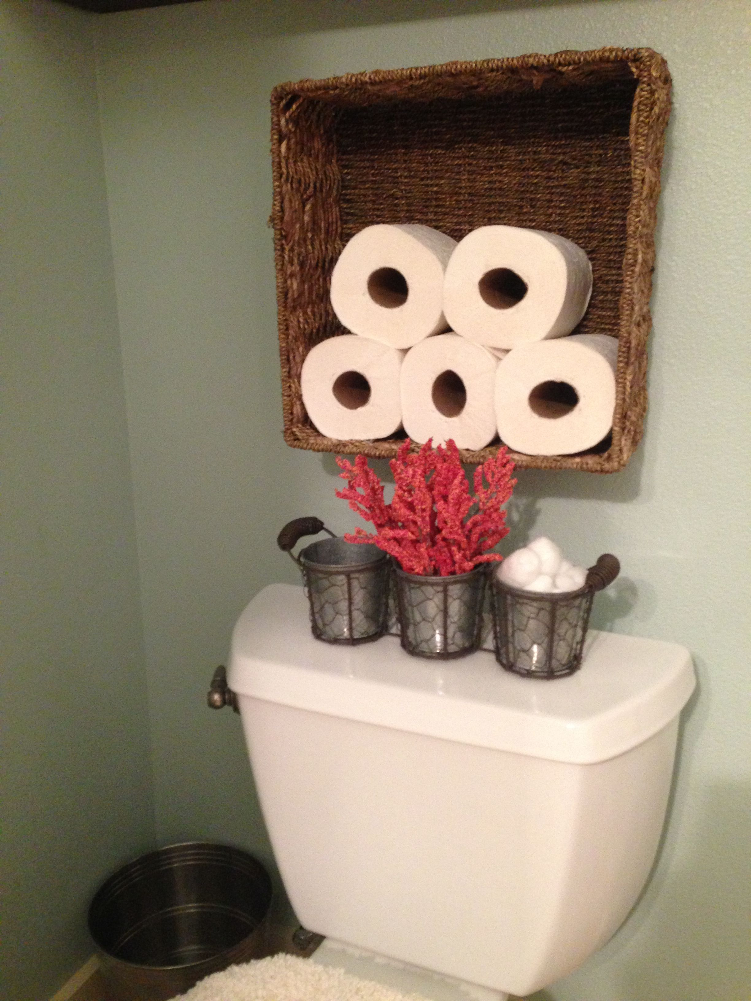 Toilet Paper Storage I Would Use An Old Wood Crate Instead