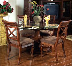 Kahala Coast Gl Top Pedestal Table And Chairs By Kathy Ireland