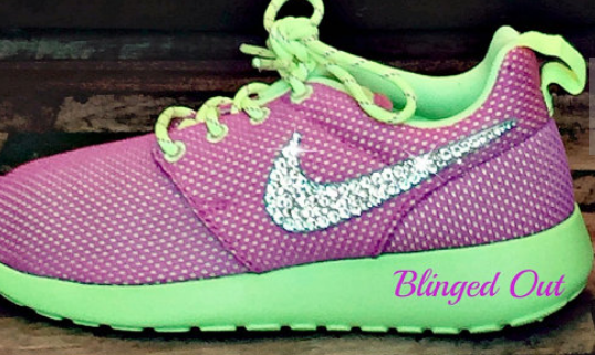 Bling Nike Roshe Run Big Girl's Shoes in Pink Metallic Silver Volt With  hand Placed Swarovski