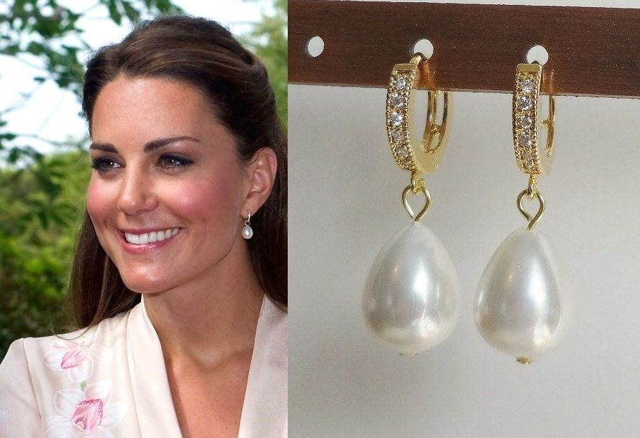 Kate Middleton Inspired White Genuine Large South Sea Pearl Drop Earrings Huggie Cubic Zirconia (gold or silver)- katemear421/422 by tudorshoppe on Etsy