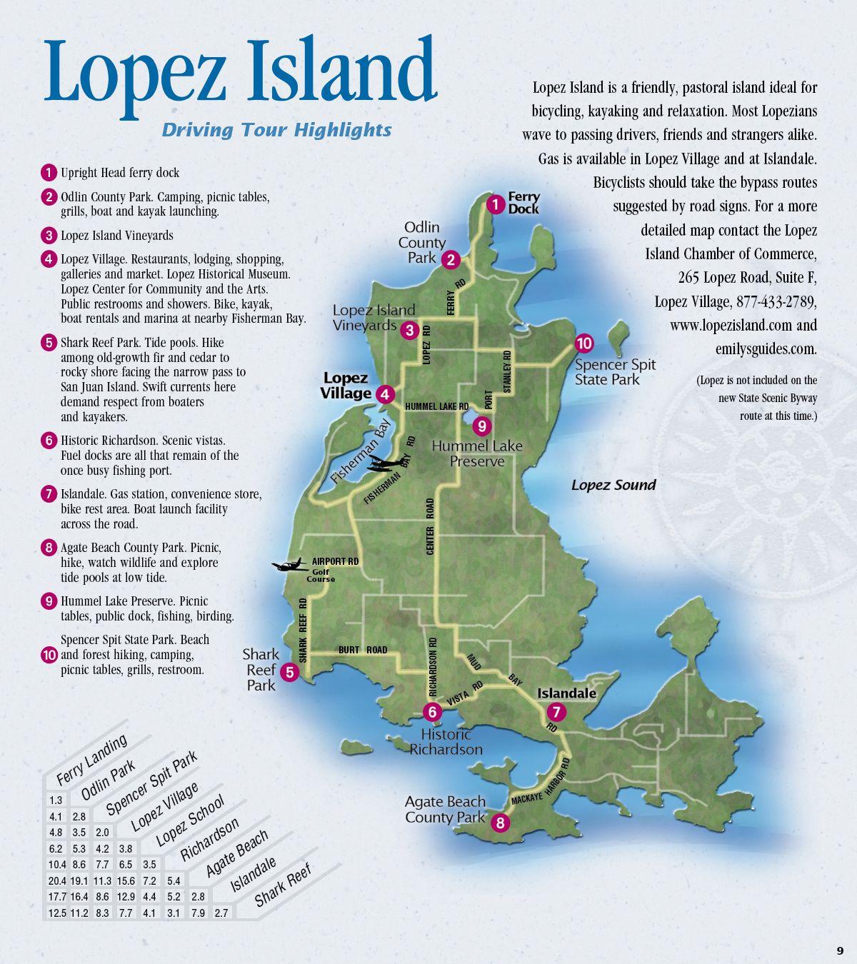 Lopez Island Kayaking Map