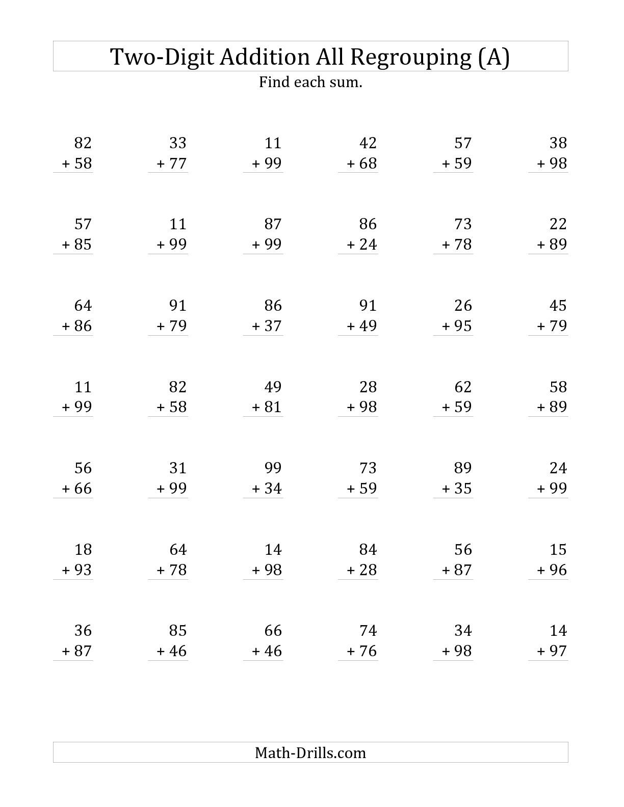 The 2-Digit Addition with All Regrouping (A) math worksheet from the ...