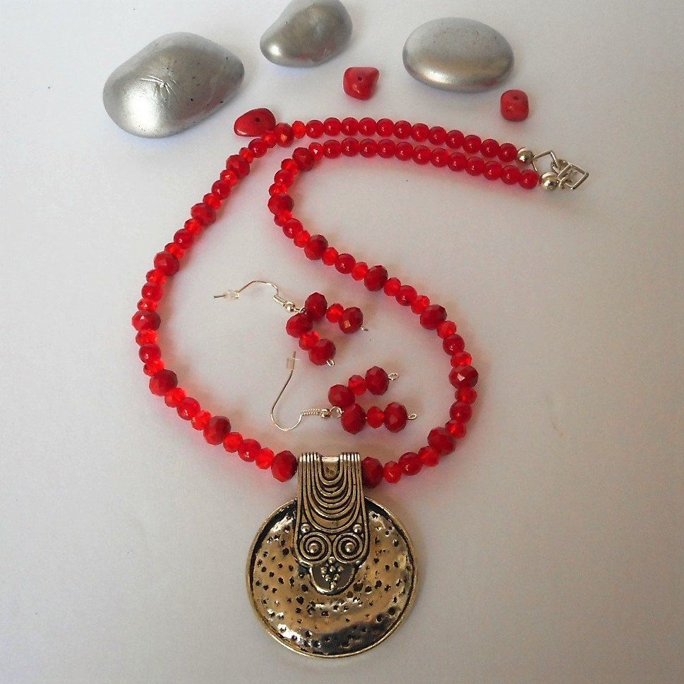 Necklace red beaded necklace pendant necklace and earring set necklace red beaded necklace pendant necklace and earring set women necklace aloadofball Image collections