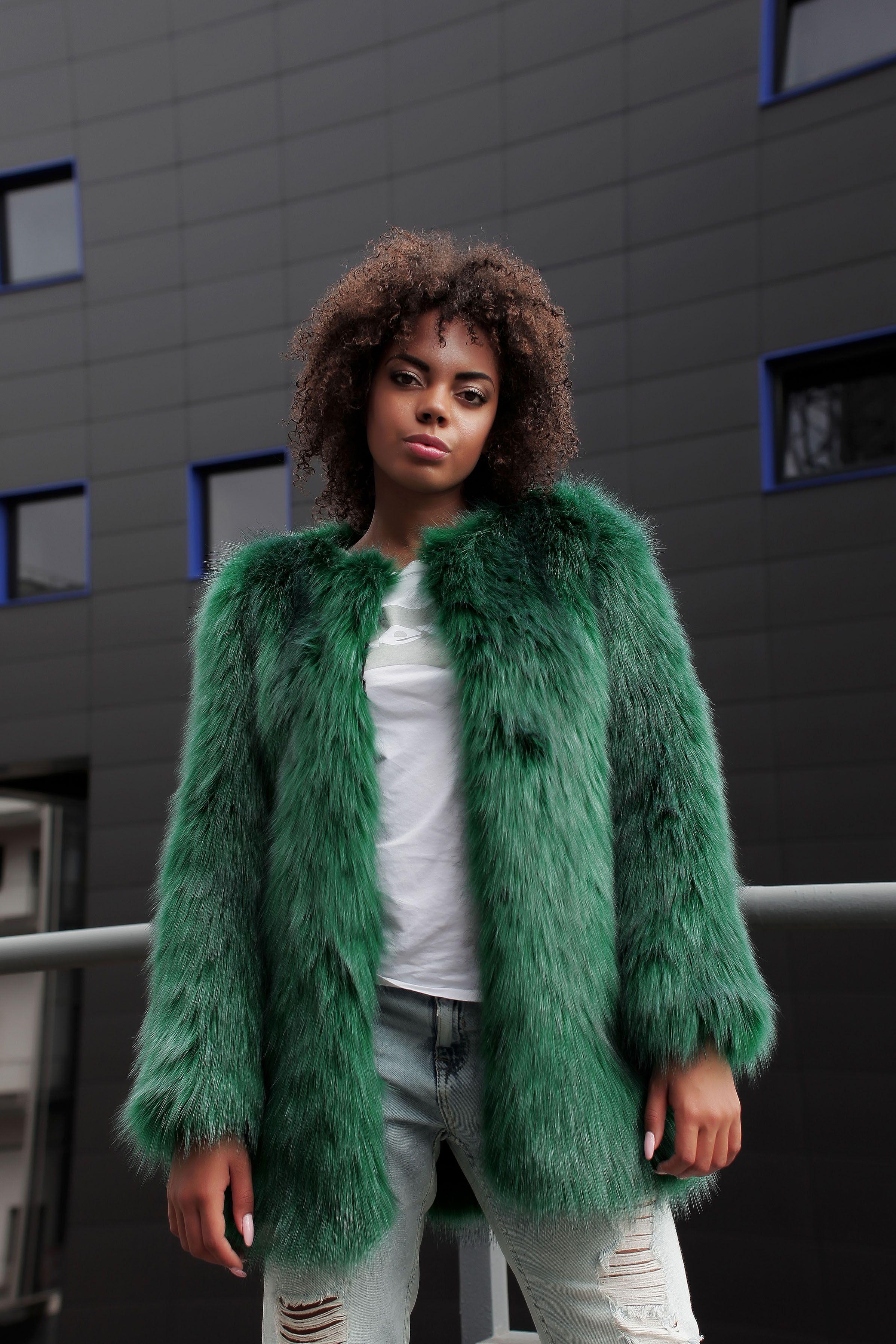 ac7b65b705f Emerald green artificial fur coat